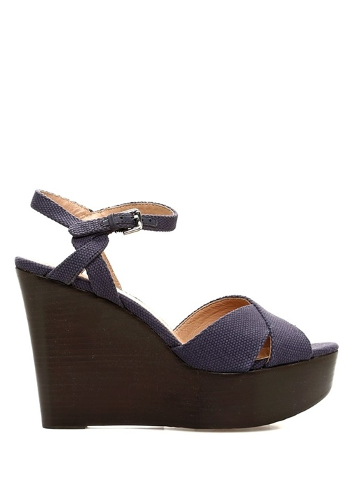 Lacivert Çapraz Bantlı Kadın Deri Sandalet