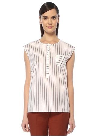 Brooks Brothers Kadın Kırmızı Beyaz Çizgili Cep Detaylı Kolsuz Bluz 0 US