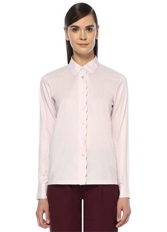 Pembe Düğmeli Biye Detaylı Gömlek