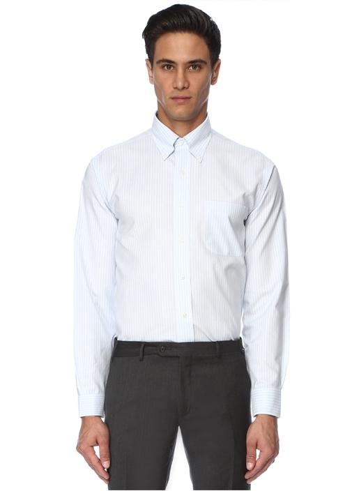 Beyaz Mavi Çizgili İngiliz Yaka Gömlek