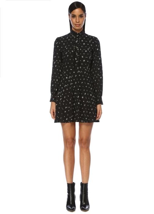 Siyah Dik Yaka Desenli Fırfırlı Mini Elbise