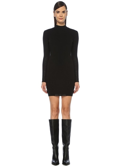 Siyah Dik Yaka Simli Uzun Kol Mini Triko Elbise