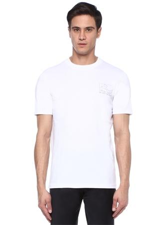 Beyaz Bisiklet Yaka Dalga Baskılı BasicT-shirt