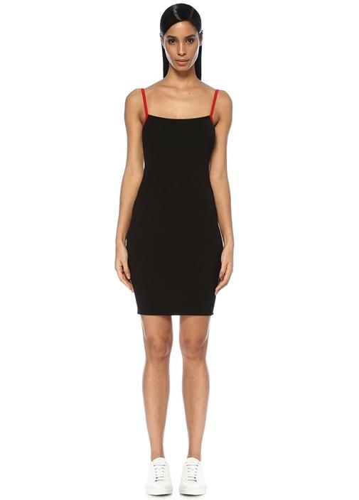 Ramen Siyah Kırmızı Sırtı Açık Mini Triko Elbise