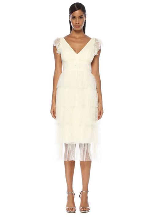 Beyaz V Yaka İşlemeli Midi Kokteyl Elbise