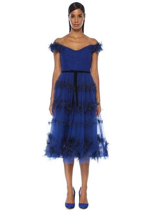 Mavi Omzu Açık Aplikeli Midi Tül Kokteyl Elbise