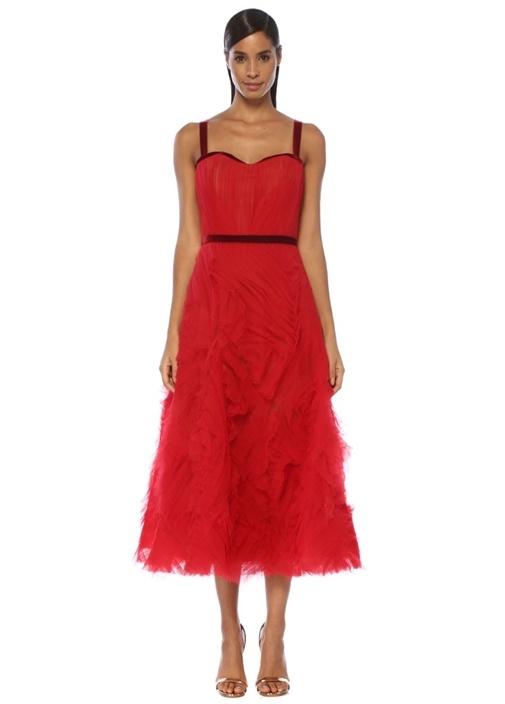Kırmızı Kalp Yaka Drapeli Midi Kokteyl Elbise