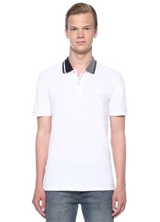 Slim Fit Beyaz Jakarlı Polo Yaka T-shirt
