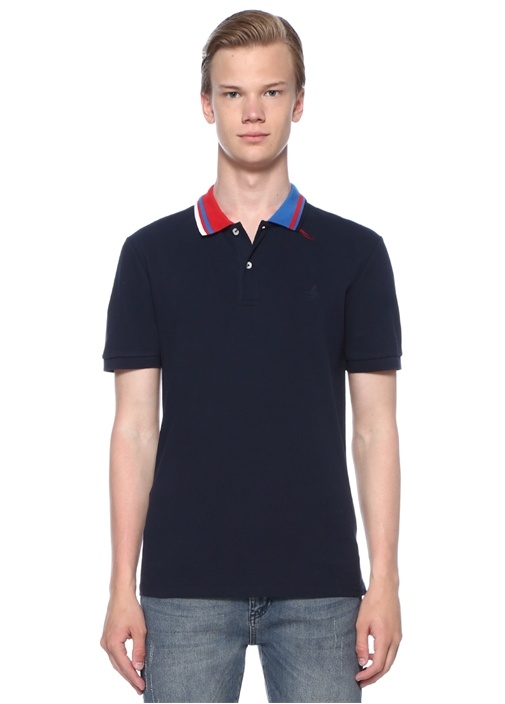 Slim Fit Lacivert Jakarlı Polo Yaka T-shirt