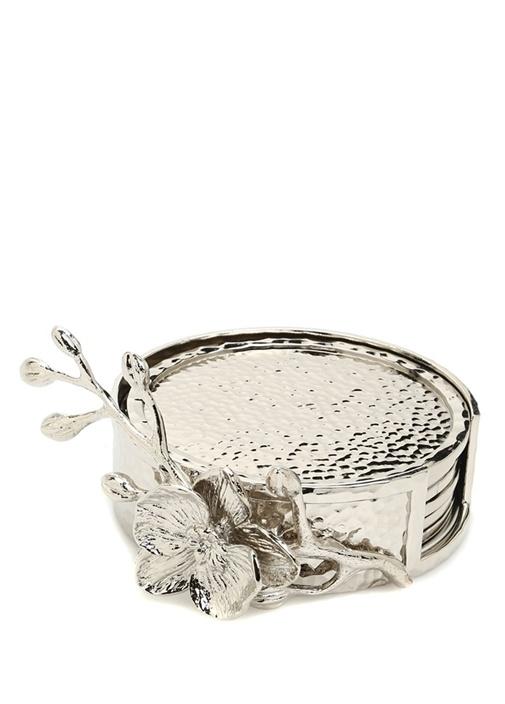 White Orchid Silver 6li Bardak Altlığı
