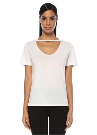 Tru Kadın Beyaz Yakası Kesim Detaylı T-shirt S/M EU