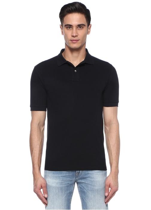 Siyah Polo Yaka Dokulu T-shirt