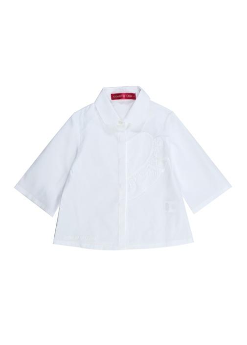 Beyaz Kalp Detaylı Kız Çocuk Gömlek
