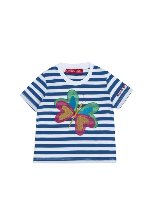 Mavi Beyaz Çizgili Kız Çocuk T-shirt