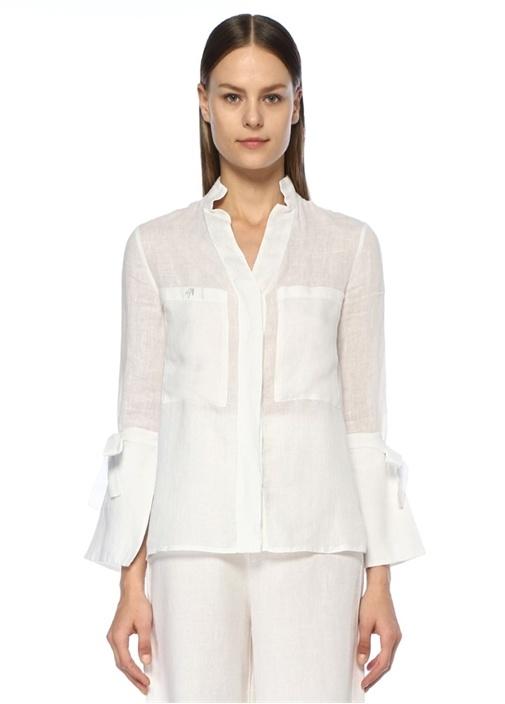 At The Ritz Beyaz Kolu Bağcıklı Keten Gömlek