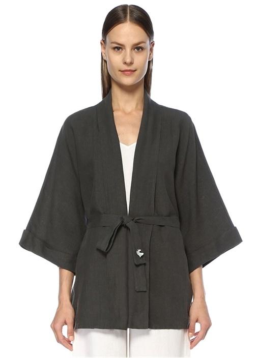 Elephant House Of Magic Antrasit Keten Kimono