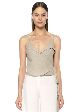 Dor Raw Luxury Kadın Bej V Yaka Bağcıklı Crop Keten Bluz S EU