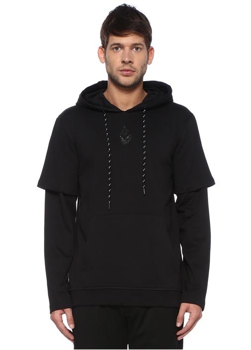 Siyah Kapüşonlu Kol Detaylı Sweatshirt