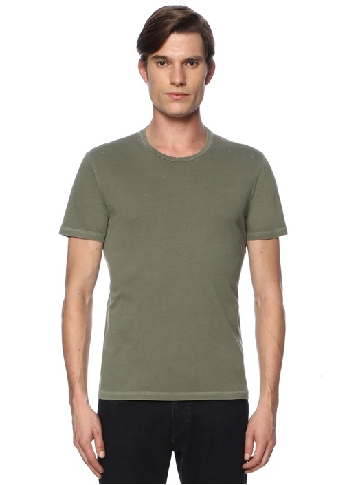 Haki Yıpratmalı Basic T-shirt