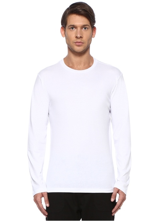 Beyaz Bisiklet Yaka Sweatshirt
