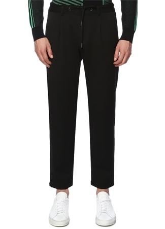 Siyah Beli Bağcıklı Dar Paça Pantolon