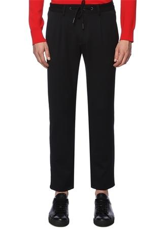 Lacivert Beli Bağcıklı Dar Paça Pantolon