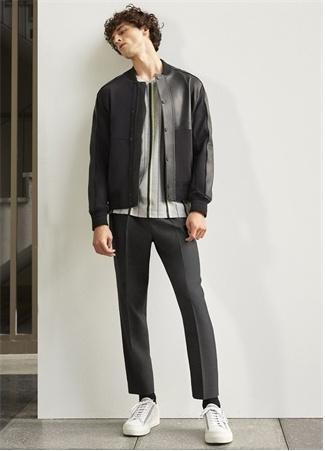 Siyah Beli Kordonlu Oxford Yün Pantolon