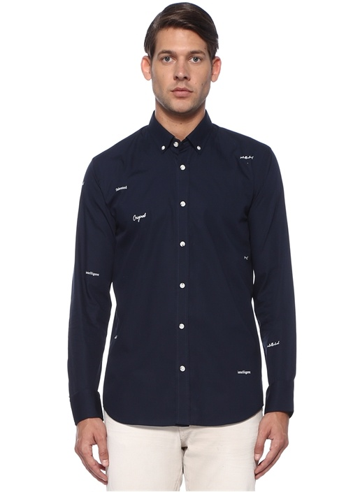 Slim Fit Lacivert Düğmeli Yaka Sloganlı Gömlek