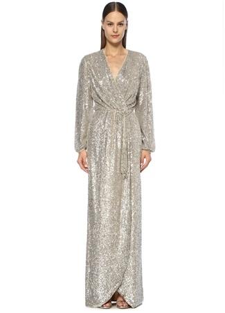 Maison Kairos Kadın Roma Silver İşlemeli Maksi Anvelop Abiye Elbise Bej 42 EU