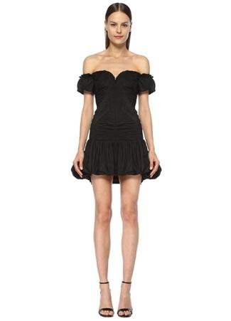 Museum of Fine Clothing Kadın Siyah Kalp Yaka Drapeli Mini Abiye Balon Elbise 36 EU