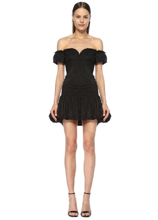 Siyah Kalp Yaka Drapeli Mini Abiye Balon Elbise