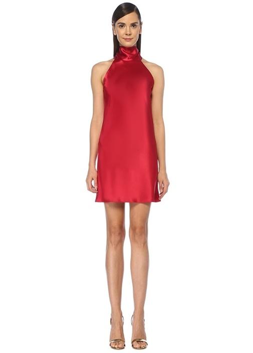 Sienna Pembe Boyundan Bağlamalı Mini Abiye Elbise