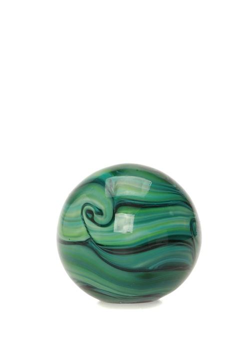Malaki Yeşil Desenli Cam Obje