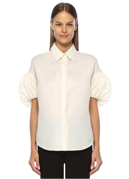 Beyaz İngiliz Yaka Balon Kol İpek Gömlek