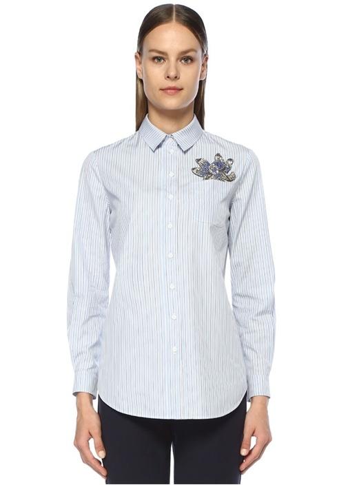 Mavi Çizgi Desenli Cebi İşleme Detaylı Gömlek
