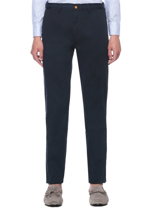 Slim Fit Lacivert Beli Şeritli Chino Pantolon