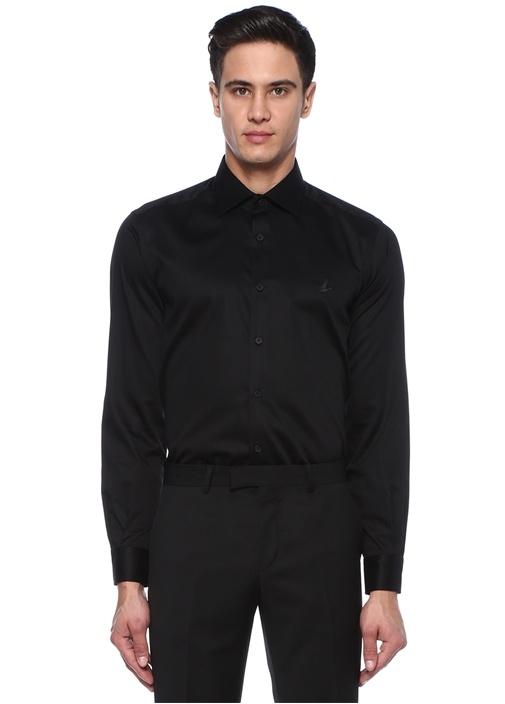 Comfort Fit Siyah İngiliz Yaka Stretch Gömlek