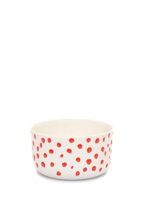 Classic Small Beyaz Kırmızı Puanlı Porselen Bardak