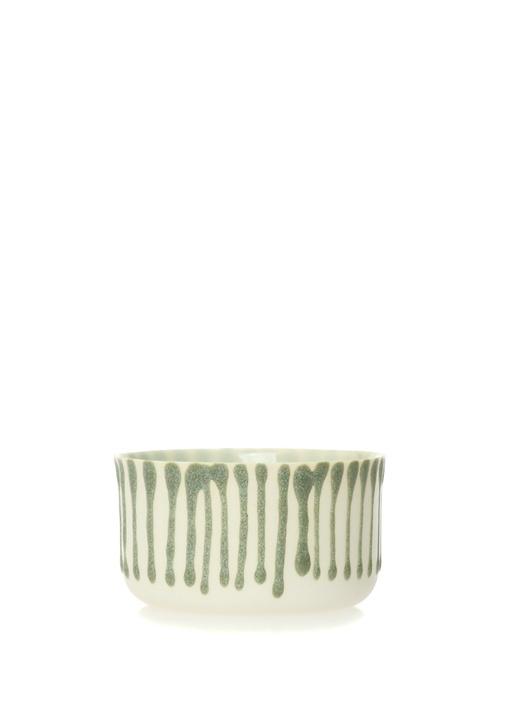 Classic Small Beyaz Yeşil Porselen Kase