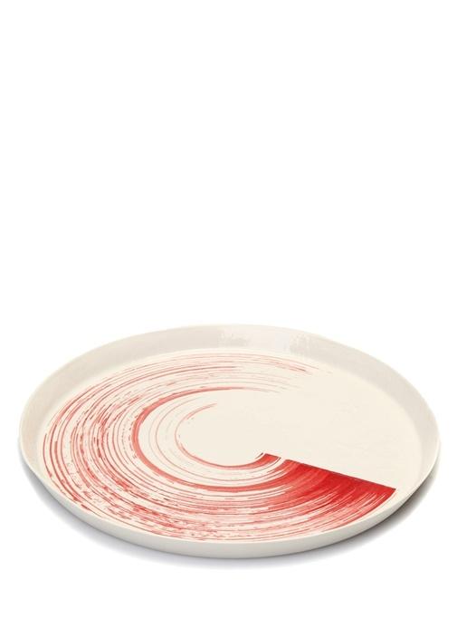 Beyaz Kırmızı Fırça Darbesi Detaylı Porselen Tabak