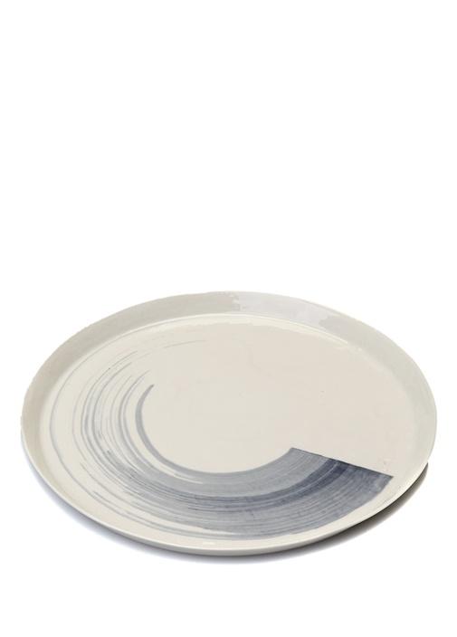 Beyaz Mavi Fırça Darbesi Detaylı Porselen Tabak