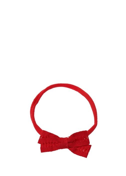 Kırmızı Fiyonklu Elastik Kız Çocuk Bandana