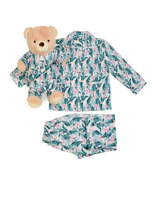 Yeşil Pembe Kız Çocuk Uyku Arkadaşlı Pijama Seti