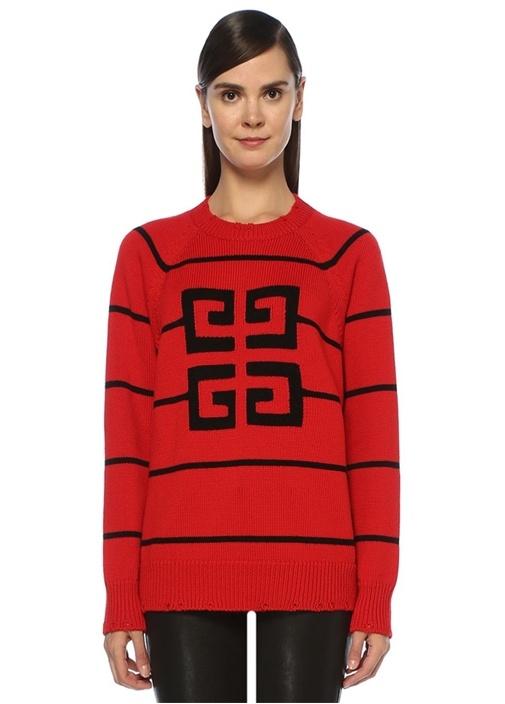 4G Kırmızı Siyah Çizgili Logo Jakarlı Kazak