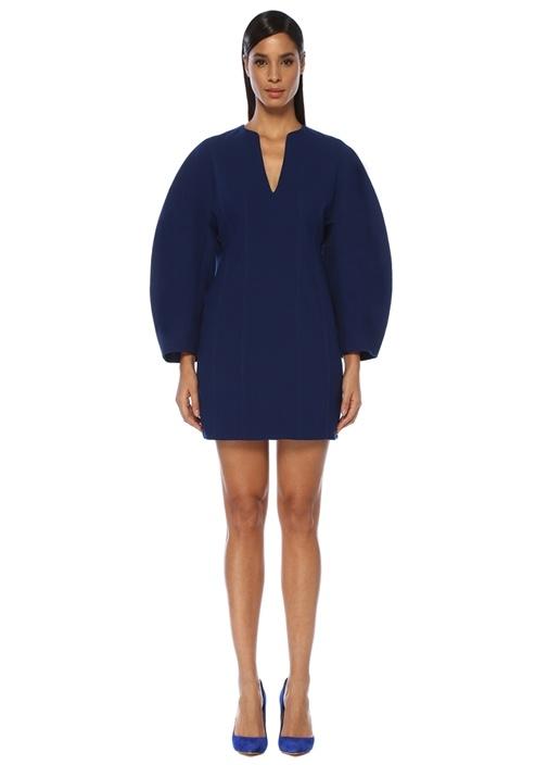 Mavi V Yaka Balon Kol Mini Yün Elbise