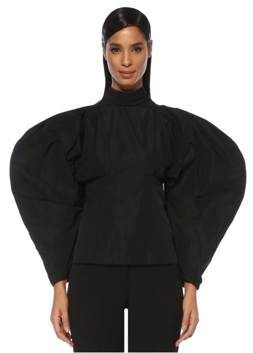 Siyah Dik Yaka Balon Kol Tafta Bluz