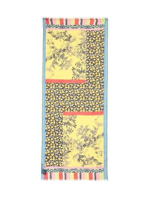 Colorblocked Karışık Desenli Kadın Kaşmir Şal