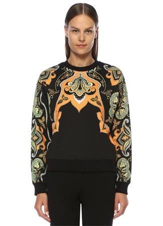 Etro Kadın Siyah Şal Desenli Nakış Detaylı Sweatshirt 44 IT