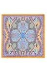 Mavi Turuncu Etnik Desenli Kadın İpek Fular