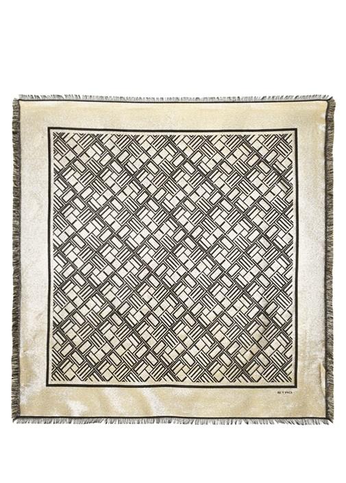 Gold Siyah Geometrik Desenli 90x90 cm Kadın Eşarp